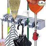 Premium Broom Holder Rack Wall Mounted, Broom and Mop Hanger Storage Closet Organizer (18 Months Warranty)