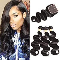 VTAOZI Brazilian Virgin Hair Body Wave 3 Bundles With Closure Natural Color 100% Unprocessed Human Hair Extensions With Three Part Lace Closure (16 18 20 & 16 Three Part)