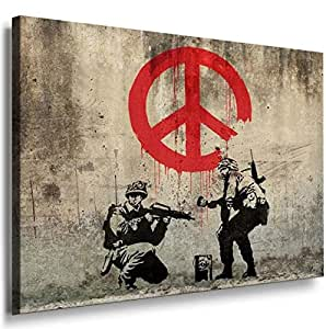 Banksy Graffiti Street Art -1078, Size 100x70x2 Cm. Printed On Canvas Stretched On A Wooden Frame.