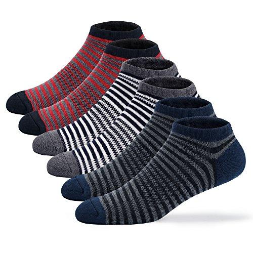 u&i Men's Cushion Cotton Comfort Low Cut Ankle Socks, Strip (6-Pack)