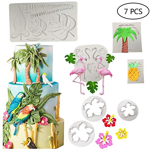 7 PCSHawaiian Tropical Theme Cake Fondant Mold Flamingo Palm Leaves Coconut Tree Leaves Pineapple Flowers Candy Chocolate Mold for Summer Cake Decorating