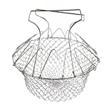 2017 Foldable Steam Rinse Deep Fry Chef Basket Magic Basket Mesh Basket Strainer Net Kitchen Cooking Tool Stainless Steel Colander (1) (1, Silver) Review