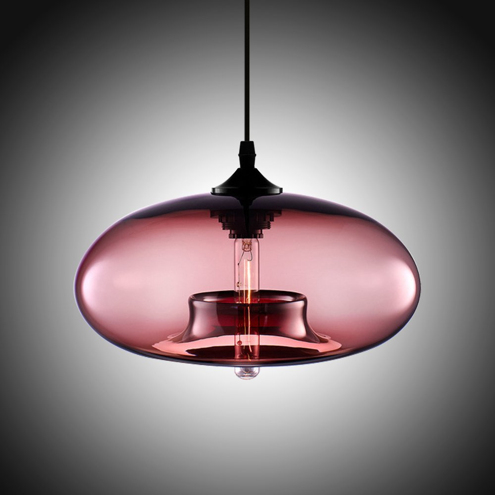 Boshen hanging modern glass pendant ceiling light lamp shade lighting fixtures replacement clear blue amber 6 colors red amazon com