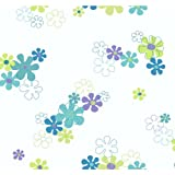 York Wallcoverings YK0151SMP York Kids IV Flower Power 8-Inch x 10-Inch Memo Sample Wallpaper, Purple/Green/Blue