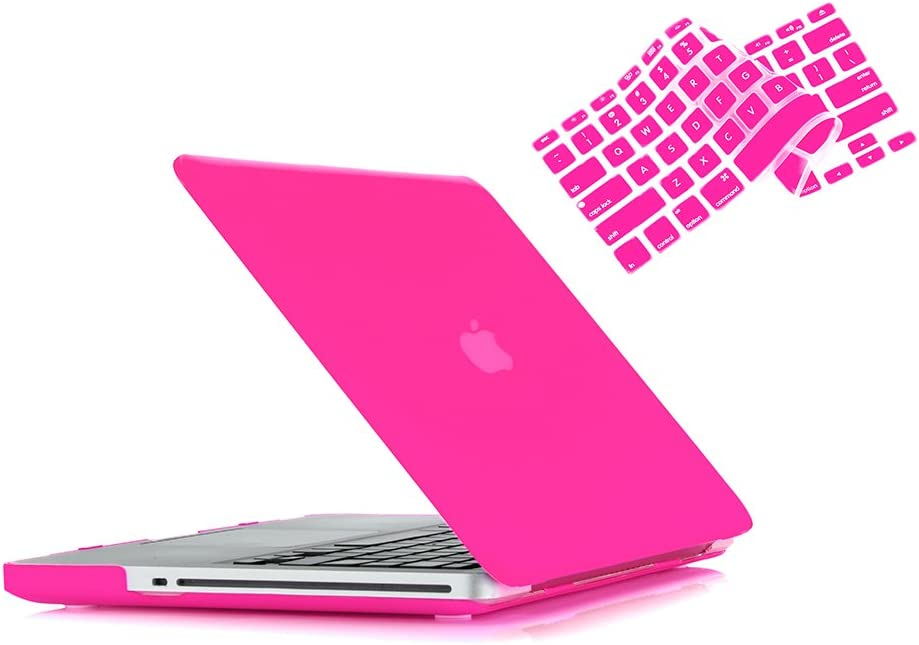 MacBook Pro 13 Case 2012 2011 2010 2009 Release A1278, Ruban Hard Case Shell Cover and Keyboard Skin Cover for Apple MacBook Pro 13 Inch with CD-ROM - Hot Pink
