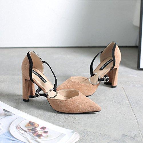 scarpe di scarpe scarpe cacciavite kaki punta i il coppia donna con a grassetto singolo e una 34 alti Il tacchi txOwpqT8CY