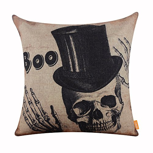 LINKWELL 18x18 inches Happy Halloween Boo Skull with Black Hat Burlap Throw Cushion Cover CC1180