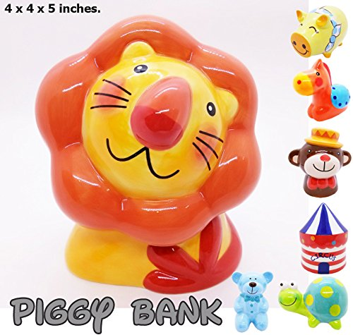 Piggy Bank Ceramic Cute Handmade Paint Coat Figurine Fancy Animal Decor Collect Coin Hight Quality (Lion Cute) ()