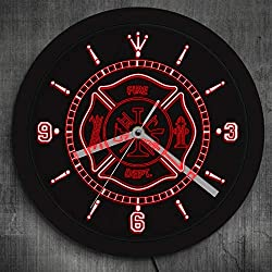 GZGJ Fire Department Neon Sign Wall Clock Rescue Fire Dept Color Changing LED Wall Lamp for Fireman Unique Gift Luminous Wall Clock
