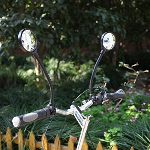 LT Rotatable and Adjustable Wide Angle Rear View Shockproof Convex Mirror Universal for Mountain Bicycle Electric Bike for HandleBar Diameter between 22mm-32mm (1pc)