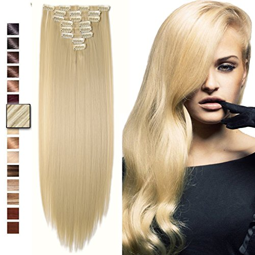 S-noilite 23'' Straight/Curly Bleach Blonde Full Head Clip in Hair Extensions 8 Pieces 18 Clips Hairpieces 31 Trendy Hair Colors USA Local Post by S-noilite