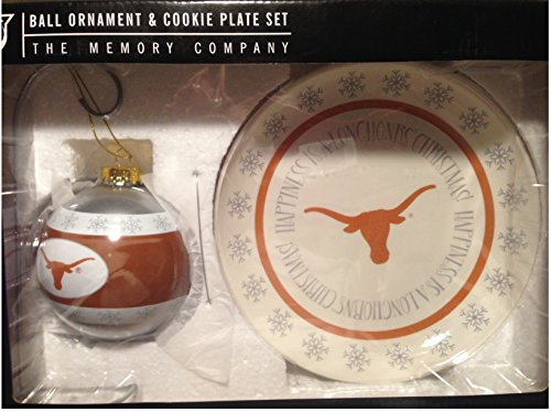 (Hook'em Horns University of Texas Santa's Ceramic Cookie Plate and Glass Ball Ornament Set)
