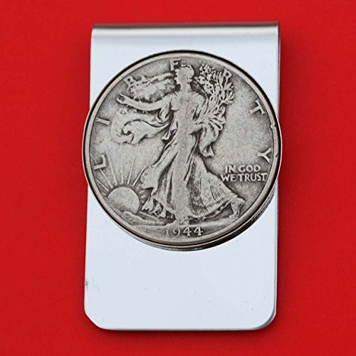US 1944 Walking Liberty Half Dollar 90% Silver Coin Stainless Steel Money Clip NEW - Silver Plated Coin Bezel (Walking 1944)