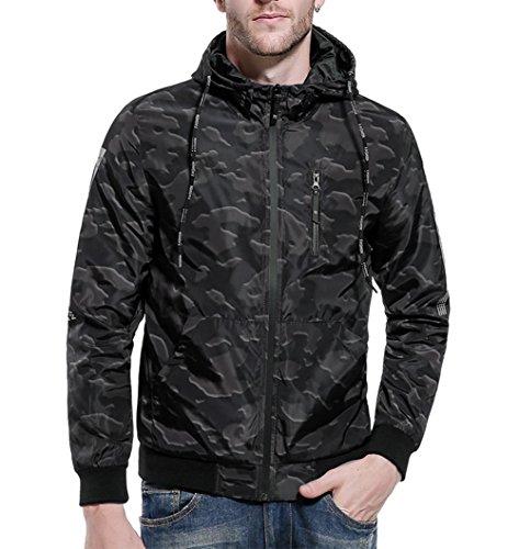 Printed Camo Hoodies Windbreaker Jackets Outwear Green M (Camo Zip Hood)