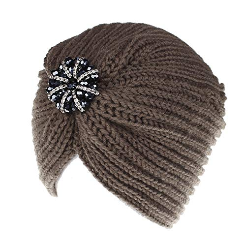 Lookatool LLC Women Ladies Solid Color Rhinestone Knited Headgear Beanie Tail Hat -