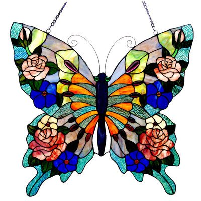 Chloe Lighting Tiffany-Glass Butterfly Window Panel 22.5X24 (Butterfly Panel)