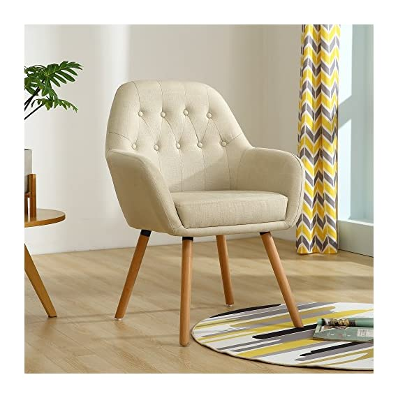 "LSSBOUGHT Contemporary Stylish Button-Tufted Upholstered Accent Chair with Solid Wood Legs (Beige) - Includes one arm chair, upholstered with soft linen fabric in beige, sturdy hardwood construction Overall dimension: 23"" D X 26"" W X 36.5"" H, dimension details displayed in the picture High quality fabric cover for more durability, Sturdy frame makes it very stable, weight capacity:280lbs - living-room-furniture, living-room, accent-chairs - 51PXgBLQn7L. SS570  -"