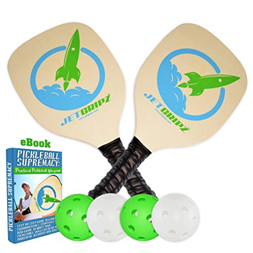 JetGripz Pickleball Paddle Set - Includes 4 ball Bundle + 2 Wooden Paddles + Ebook | Mens Womens Kids Indoor Outdoor Pickleball Paddles | Meets USAPA Specs - Professional and Traditional Paddles Use (Two Paddles Wooden)