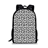 Cat Stylish School Bag - Black Silhouettes in Different Positions Friendly Furry Feline Domestic Pet Figures Decorative for Boys - 11''L x 5''W x 17''H