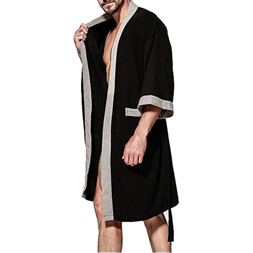 fb38e4e6b9 OGOUGUAN Men s Waffle Kimono Robe Cotton Lightweight Nightgowns Spa Terry  Cloth Bathrobe Sleepwear with Pockets at Amazon Men s Clothing store