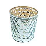 Insideretail 700452-10-24LTBLU Wedding Bubble Mercury Glass Tea Light Holders (Set of 24), 7cm, Distressed Light Blue