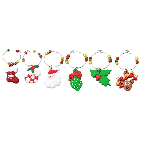 butterfly Lalang Wine Glass Charms Handmade Christmas Characters Table decorations