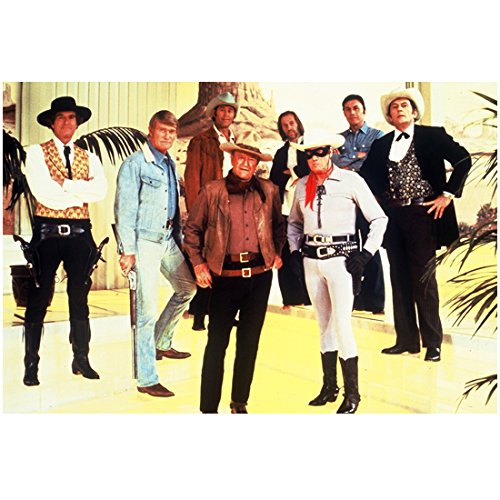 John Wayne The Duke 8 x 10 Photo Posing w/Lone Ranger and Other TV Old West Heroes kn