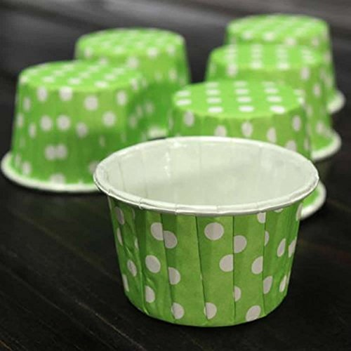 Delight eShop 50x Paper Cake Cup Cupcake Wrapper Cases Muffin Baking Wedding XMAS Party (Green)
