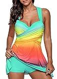 Urban Virgin Women Plus Size Swimsuits for Women Two Piece Tankini Swimwear Bathing Suit Floral Print Cyan XXXXL(US:18-20)