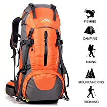PINSV 45L+5L Hiking Backpack for Large Capacity Multifunctional Professional Outdoor Sport Hiking Waterproof Trekking Rucksack with Rain Cover Camping Travel Backpack