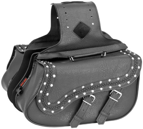 - River Road Zip-Off Quick-Release Saddlebag - Medium Slant Braided and Studded XF10-8990