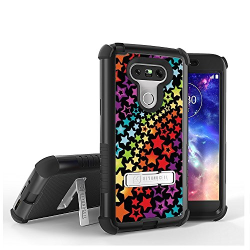 LG G5 Case, G5 Case,Beyond Cell Tri Shield [Dirtproof]High Impact Armor Hybrid Hard+Soft Rugged Case with built in kickstand-Rainbow Stars-FREE Screen Protector