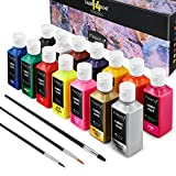 Magicfly Permanent Soft Fabric Paint Set, Set of 14(60ml Each) Textile Paints with 3 Brushes, No Heating Needed & Washable Fabric Paint for Clothes, Canvas, T-Shirts, Jeans, Bags, All DIY Projects (Color: multicolored)