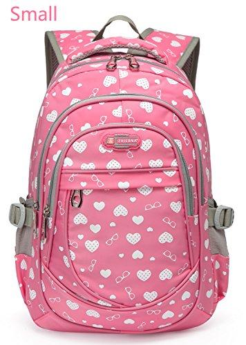 Hearts Print Preschool Backpacks For Little Girls Kids Small School Bags for Kindergarten Bookbags (Small- Pink)