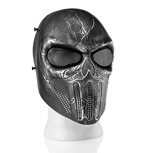 Flexzion Airsoft Paintball Mask Full Face Skull Skeleton Metal Mesh Eye BB Field Protection Safety Guard Silver Gray Revenger for Outdoor Activity Hunting Wargame Cosplay