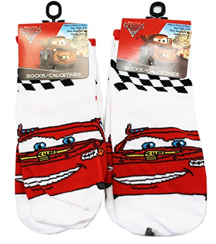 Disney Pixar's Cars 2 White Lightning McQueen Kids Socks (Size 6-8, 2 Pairs)