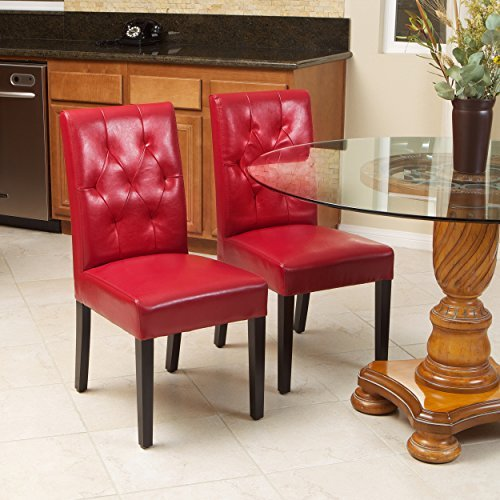 Waldon Red Leather Dining Chairs w/ Tufted Backrest (Set of 2)