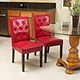 Great Deal Furniture 213819 Waldon Red Leather Dining Chairs w/Tufted Backrest (Set of 2) For Sale