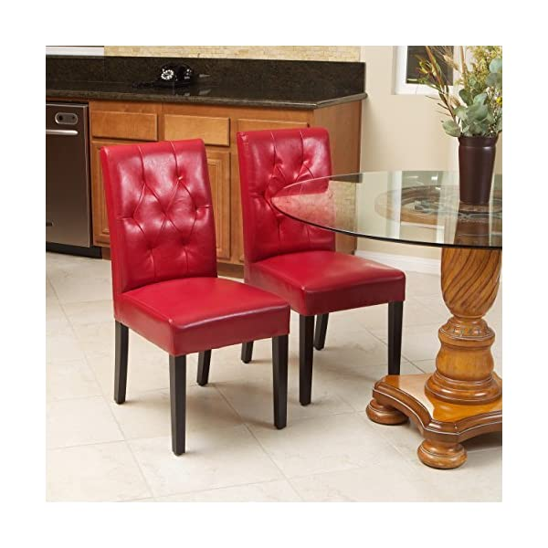 Great Deal Furniture Waldon Red Leather Dining Chairs w/Tufted Backrest (Set of 2)
