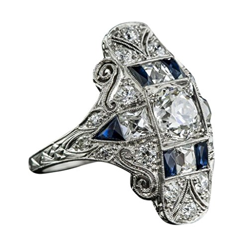 Palace Luxury Topaz Sapphire Ring Birthstone Bride Engagement Wedding Ring (Size:7)