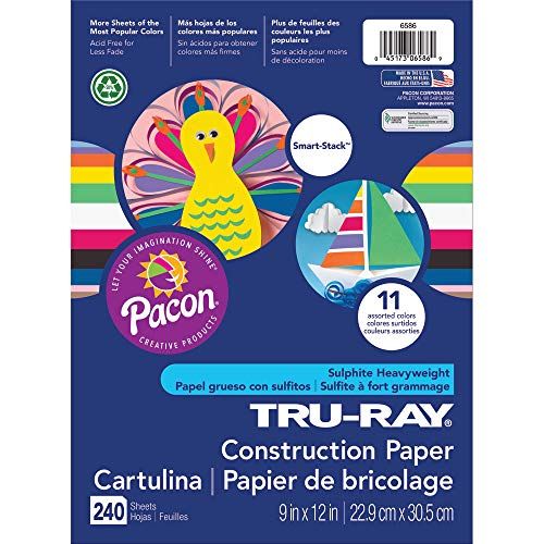 Pacon Tru-Ray Assorted Colors Smart Stack Construction Paper, 9 W x 12 L (Pack of 240)