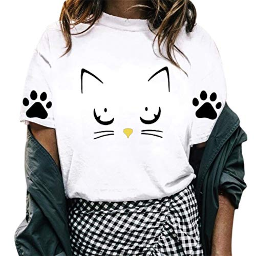 YKARITIANNA Women Girl 2019 New Summer Casual O-Neck Cat Print Tops Tee Shirts Blouse ()