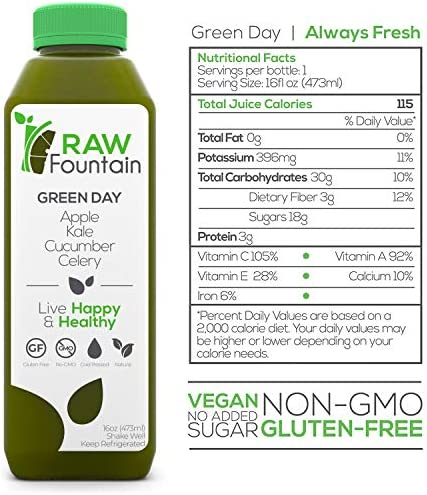 Raw Fountain 3 Day Green Juice Cleanse, All Natural Raw, Vegan Detox, Cold Pressed Juice, 18 Bottles 16oz, 3 Ginger Shots 3