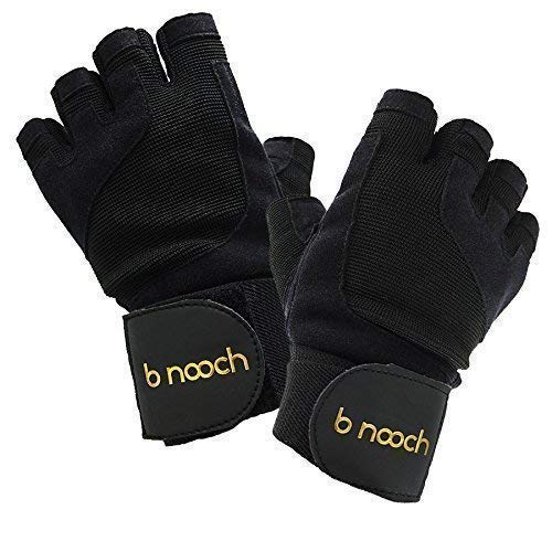 B Nooch Weight Lifting Gloves with Wrist Wrap Support for Gym Workouts, Crossfit WOD & Fitness - for Men & Women - Sizes XS Thru XL Available - Black ()
