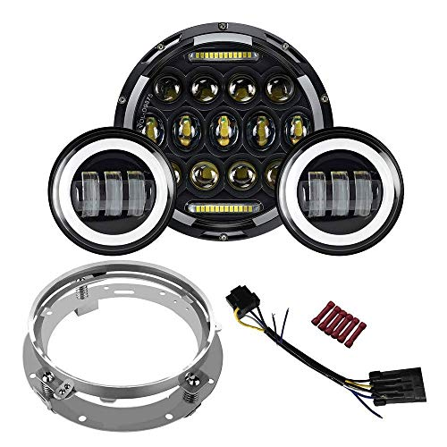 7 inch LED Headlight Fog Passing Lights DOT Kit Set Ring Motorcycle Headlamp Ring for Harley Davidson Touring Road King Ultra Classic Electra Street Glide Tri Cvo Heritage Softail Deluxe Fatboy-Black