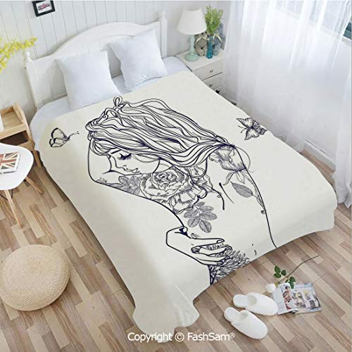 PUTIEN Super Soft Blankets for Couch Bed Birthday Young Girl with Tattoos and Butterflies Free Your Soul Inspired Long Hair Feminine Sofa Blanket for Bedroom(59Wx78L)