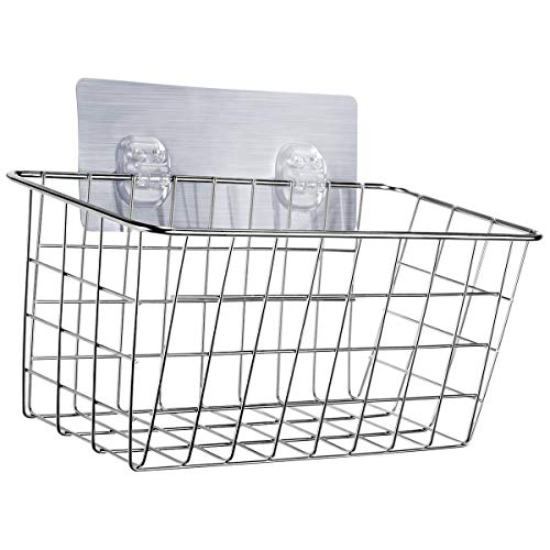 HOMEIDEAS Adhesive Deep Shower Caddy Shampoo Conditioner Holder Bath Wall Basket Shelf, No Drilling, SUS304 Stainless Steel
