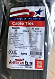Bay State Cable Ties 50 24'' UV BLACK NYLON WIRE CABLE ZIP TIE WRAP, Heavy Duty 175 Lbs. USA Made