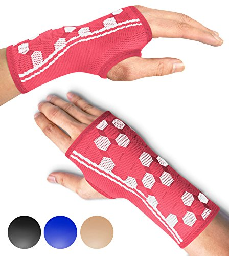 Sparthos Wrist Support Sleeves (Pair) - Compression Wrist Brace for Men and Women - Carpal Tunnel Tendonitis Arthritis Pain Relief Sports Injuries Instability Wrists Palm Hand Pain RSI (Pink-XL)