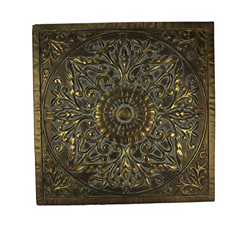 - Three Hands Corporation 57521 Three Hands square Medallion Wall Art - Embossed Metal,Gray